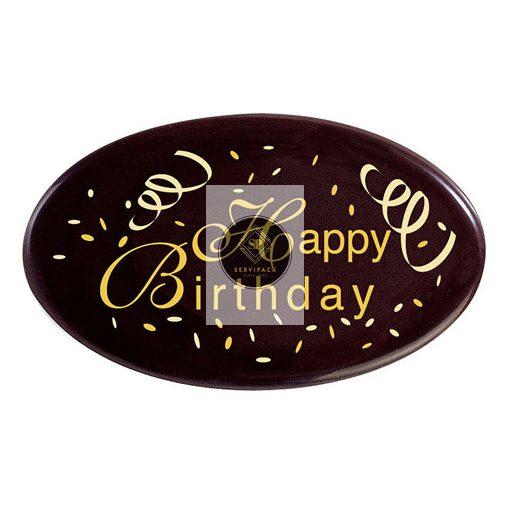"""36 Ovális étcsokoládé plakett 62x37 mm """"Happy Birthday"""" felirattal"""