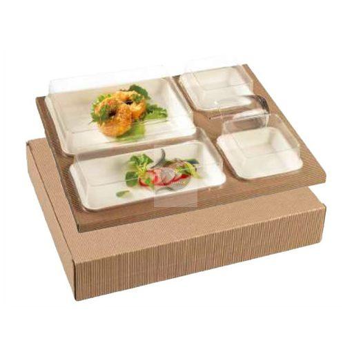 Étel szervírozó készlet 'Polaris Kanopée', natúr x25 (Cukornád / PLA / Karton)