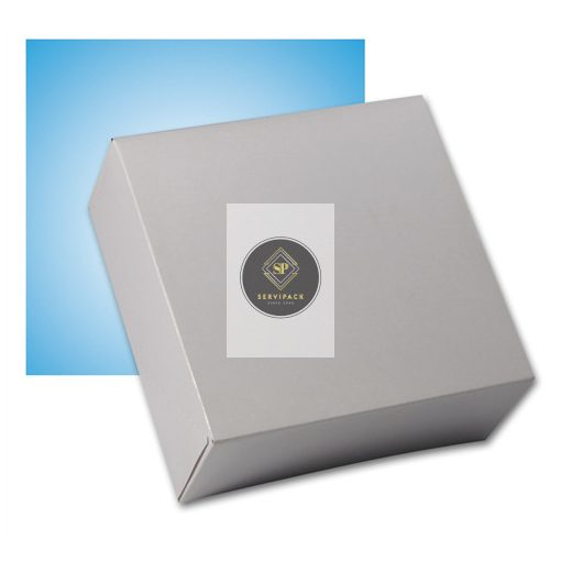 Fehér négyzetalapú papír süteményes doboz 220x220x80mm, x50db
