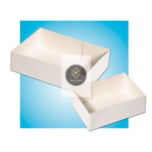 Fehér téglalapalapú papír süteményes doboz, tető nélküli 180x120x50mm, x100db
