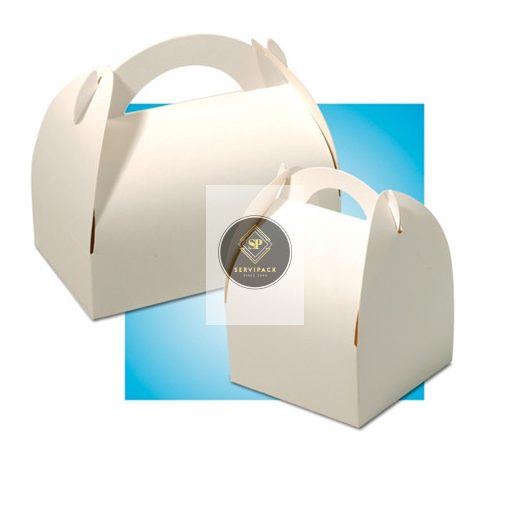 Füles fehér papír süteményes doboz 105x105x60mm, x50db