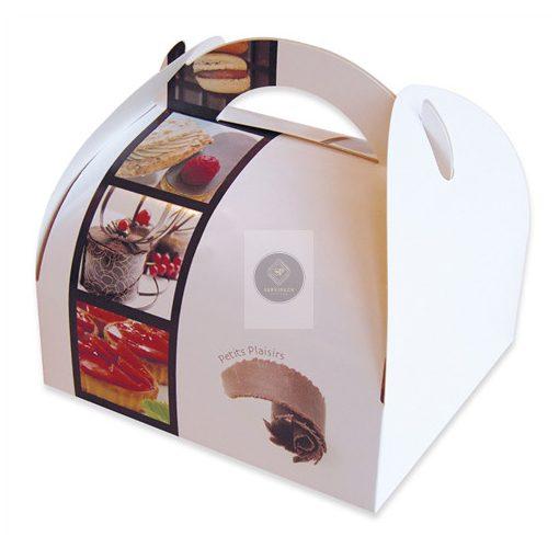 Füles mintás papír süteményes doboz 105x105x60mm, x50db