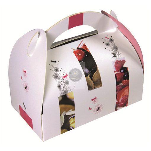 Füles mintás papír süteményes doboz 180x180x60mm, x50db