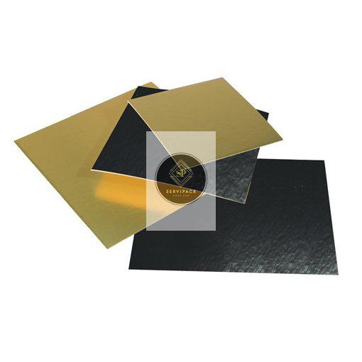 Arany/fekete kétoldalú négyzet tortakarton 250x250mm, x100db