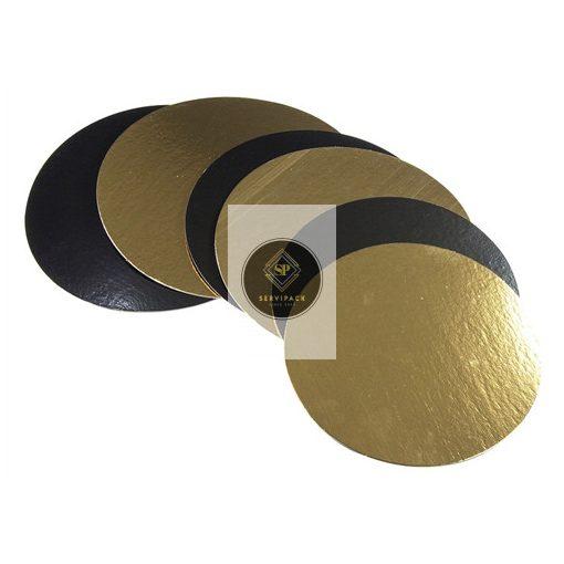 Arany/fekete kétoldalú kerek tortakarton D32cm, x100db