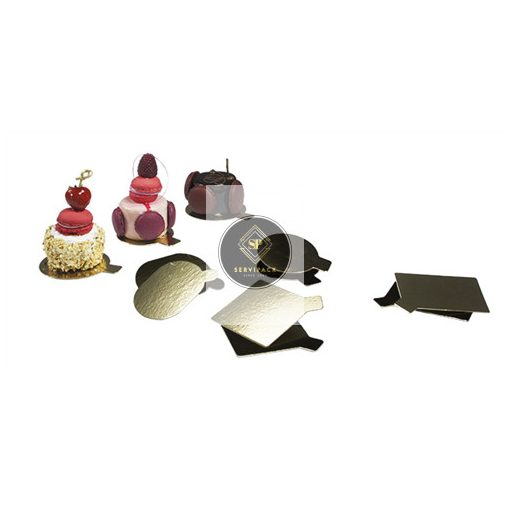 Mini arany/fekete kétoldalú négyzet süteményalátét 75x75mm, x300db